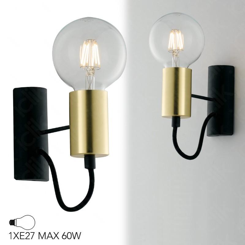 Applique moderna lampadina, Lampada da Parete in metallo Nero e Oro con cavo in tessuto Nero, 60 W LED I AXON AP